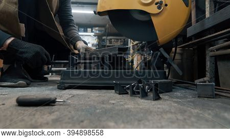 Sawing With A Circular Saw Metal, Many Sparks. Safety Violation