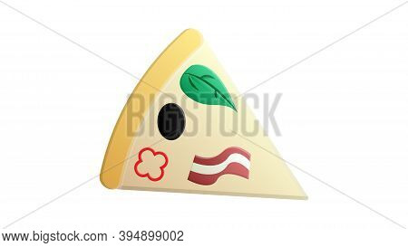 Slice Of Pizza On Thin Crust, White Background, Vector Illustration. Pizza Stuffed With Meat, Bacon,