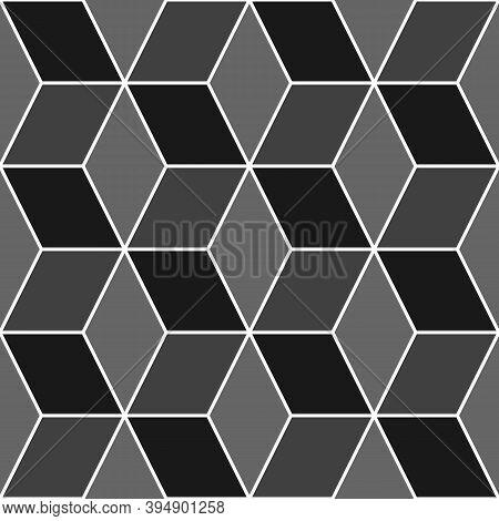 Mosaic. Rhombuses Ornament. Tiles Background. Ancient Ethnic Motif. Geometric Flooring Wallpaper. Pa