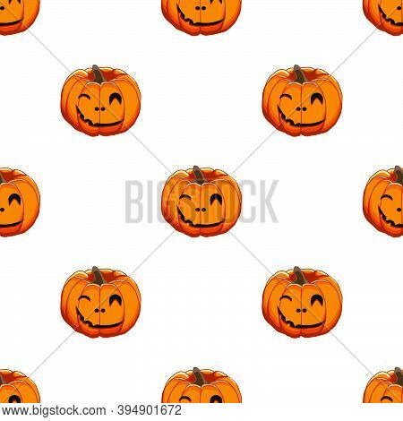 Illustration On Theme Big Colored Pattern Halloween, Seamless Orange Pumpkin. Seamless Pattern Consi