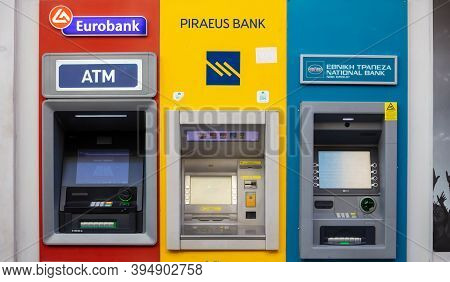 Athens, Greece. November 10, 2020. Atm Machines Group, Greek Banks Automated Teller Machines Downtow