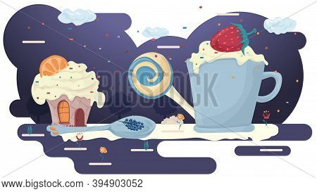 Mug With A Drink, And Foam With Strawberries, And A Cupcake In A Glade Of Icing Among The Trees Of F