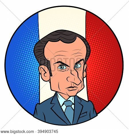 Paris, France - November 15, 2020. The President Of France Emmanuel Macron. Comic Cartoon Retro Draw