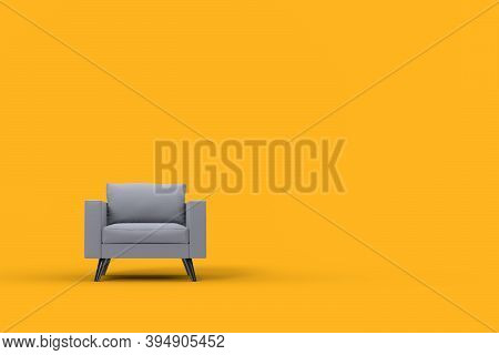 Grey Armchair With Pillows On Studio Yellow Background. 3d Rendering And Illustration Of Recliner
