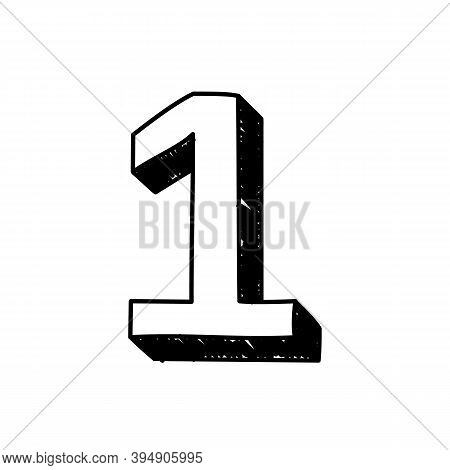 Number 1 Hand-drawn Font Alphabet. Vector Illustration Of Arabic Numerals Number 1. Hand-drawn Black
