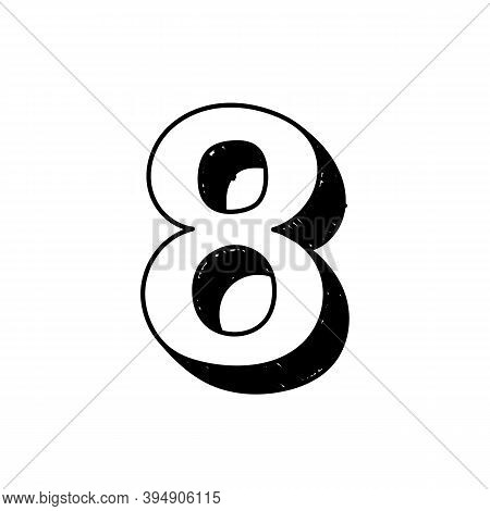 Number 8 Hand-drawn Font Alphabet. Vector Illustration Of Arabic Numerals Number 8. Hand-drawn Black