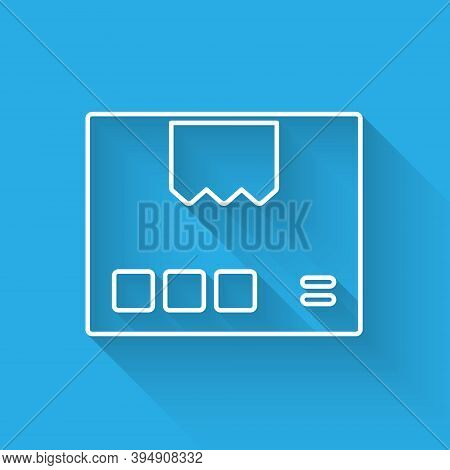 White Line Carton Cardboard Box Icon Isolated With Long Shadow. Box, Package, Parcel Sign. Delivery