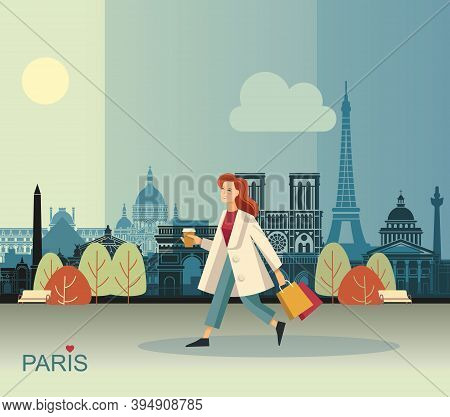 Girl With Coffee And Bags Walking In Paris