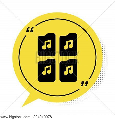 Black Music File Document Icon Isolated On White Background. Waveform Audio File Format For Digital