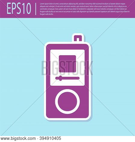 Retro Purple Music Player Icon Isolated On Turquoise Background. Portable Music Device. Vector