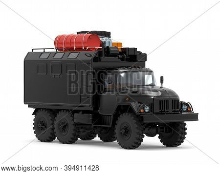 Military Off-road Truck For Apocalypse Time, Cross-country Travel, With Luggage On Roof Rack. 3d Ill