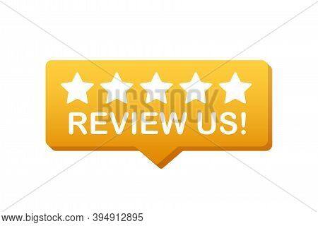 Review Us User Rating Concept. Review And Rate Us Stars. Business Concept. Vector Illustration.