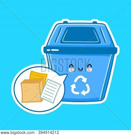 Cute Happy Garbage Container For Paper. Vector Flat Line Cartoon Kawaii Character Illustration Icon.
