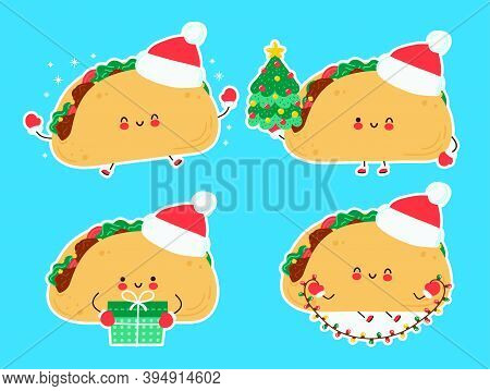 Cute Happy Funny Christmas Taco Set Collection. Vector Cartoon Character Hand Drawn Style Illustrati