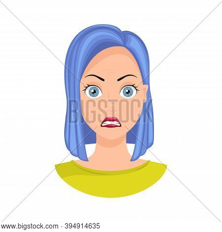 Emotion Of Shock. Shocked Expression On A Woman's Face, Shocked Woman. Vector Illustration.