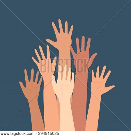 Multicultural Crowd Of People With Hands Up, Teamwork Of Multinational Team, Horizontal Seamless Pat