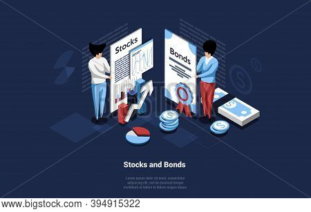 Business Concept Illustration Of Stocks And Bonds On Dark Background. Vector Composition In Cartoon