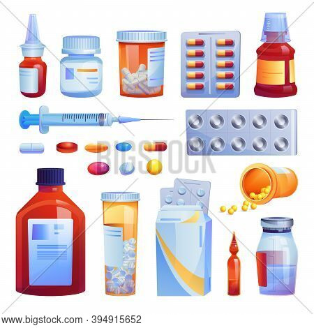 Medical Drugs, Pills And Capsules Set Isolated Cartoon Icons. Vector Various Meds, Glass Bottles Wit