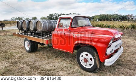 Fredericksburg,texas- Nov.12-2020  Augusta Vin Winery In Texas Hill Country With 1950 Gmc Wine Truck