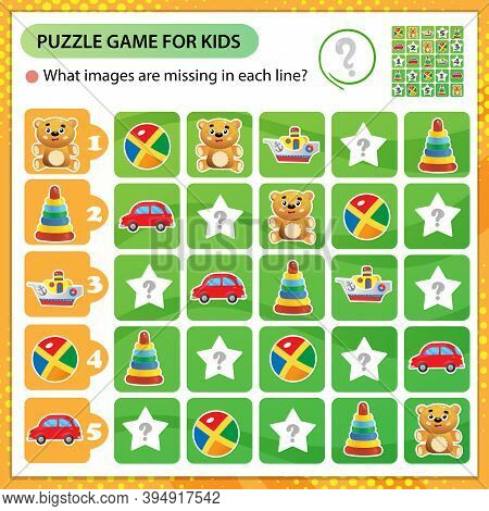 Sudoku Puzzle. What Images Are Missing In Each Line? Toys. Toy Car, Boat, Teddy Bear, Ball, Pyramid.