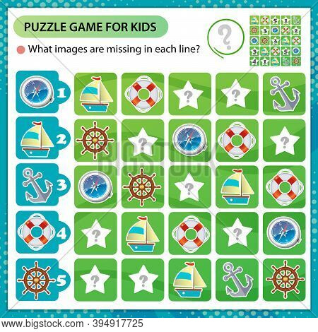 Sudoku Puzzle. What Images Are Missing In Each Line? Ship Or Steamship, Magnetic Compass, Anchor, He