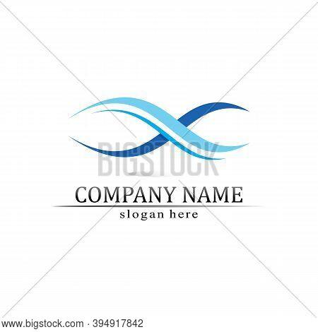 Water Wave Icon Vector Illustration Design Blue  Logo