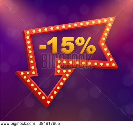 15 Percent Off Sale Discount Banner. Discount Offer Price Tag. 15 Percent Discount Promotion Flat Ic