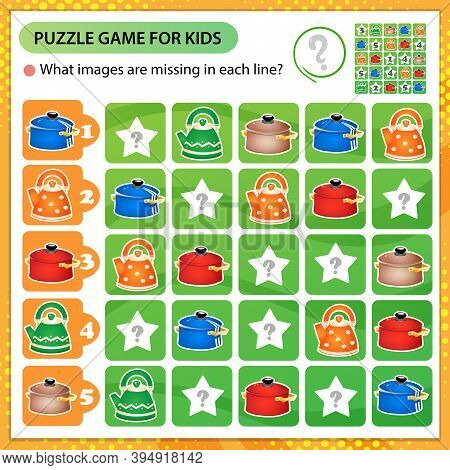 Sudoku Puzzle. What Images Are Missing In Each Line? Pans And Kettles. Logic Puzzle For Kids. Educat