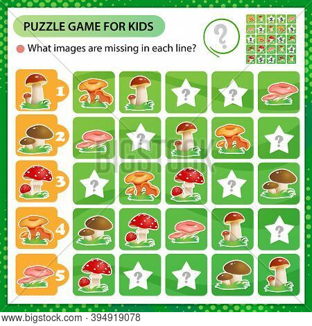 Sudoku Puzzle. What Images Are Missing In Each Line? Mushrooms. Logic Puzzle For Kids. Education Gam