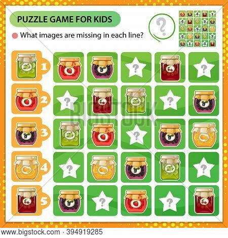 Sudoku Puzzle. What Images Are Missing In Each Line? Jars Of Jams. Logic Puzzle For Kids. Education