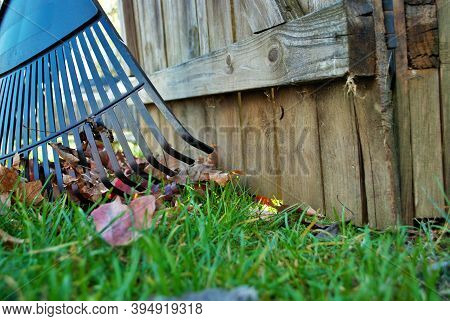Pile Of Leaves And A Rake Leaning Against A Fence Fall Background