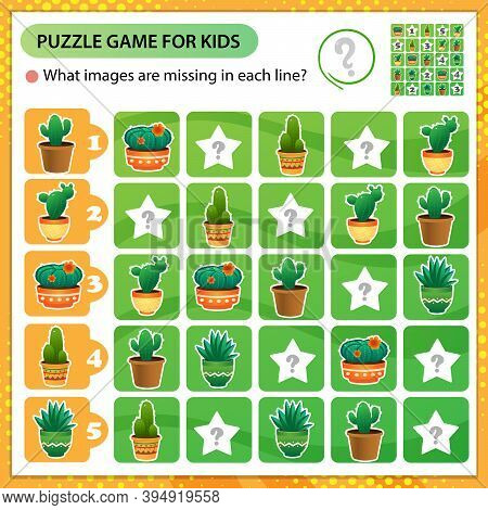 Sudoku Puzzle. What Images Are Missing In Each Line? Cactus. Houseplants Or Indoor Plants. Logic Puz