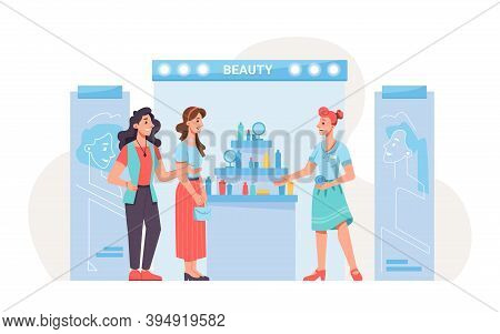 Expo Exhibition Stand, Beauty Products, People Shoppers And Promoter. Vector Flat Cartoon Cosmetic P