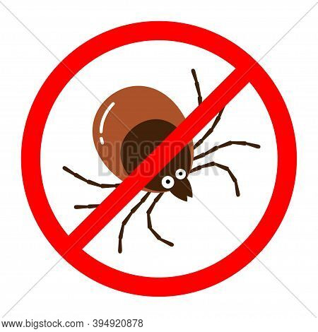 Red Round Anti Tick Warning Sign With Detailed Tick Insect Bug.