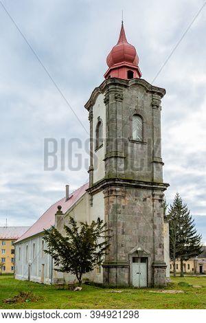 Nova Ves / Czech Republic - November 15 2020: View Of The Roman Catholic Church Of The Most Holy Tri