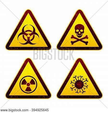 Set Of Warning Signage In Triangular Shape For Biohazard Alert, Risk Of Death, Radiation Danger And