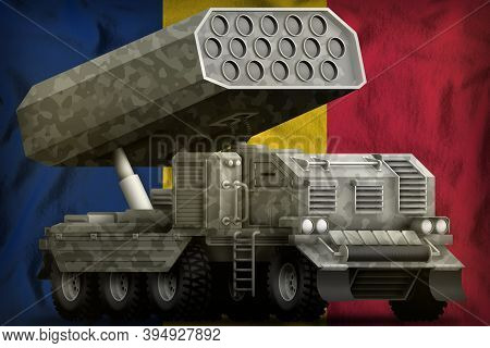 Rocket Artillery, Missile Launcher With Grey Camouflage On The Chad Flag Background. 3d Illustration