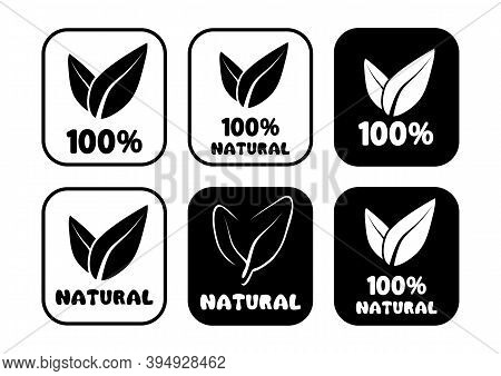 100 Percent Natural Round Badges. Set Of Round Stamps With Leaves Inside For Product With Natural In