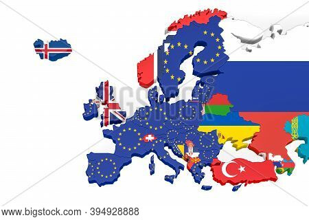 Europe 3d Map With Borders Marked - European Union Member States Marked With An Eu Flag, Other Count