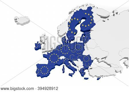 Europe 3d Map With Marked Borders - European Union Member States On A Three Dimensional Map Of Europ