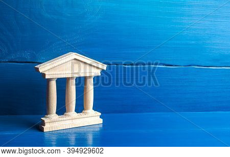 Wooden Figurine Of A Government Building Or A Bank. Court And Judiciary, State Authorities. Historic