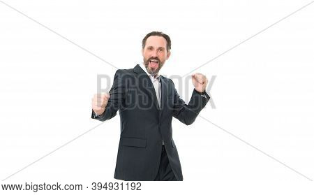 Yay Me. Happy Businessman Isolated On White. Bearded Man Celebrate Success. Celebration Of Contract.