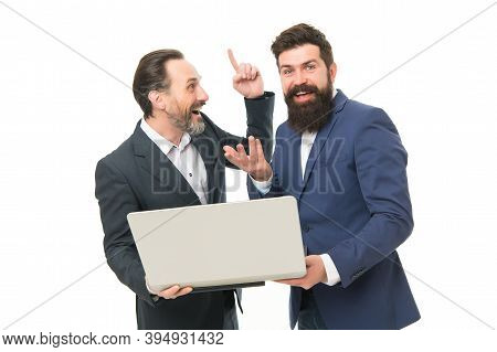 Big Idea For Great Result. Bearded Men Got Business Idea. Happy Businessmen Use Computer. Pointing I