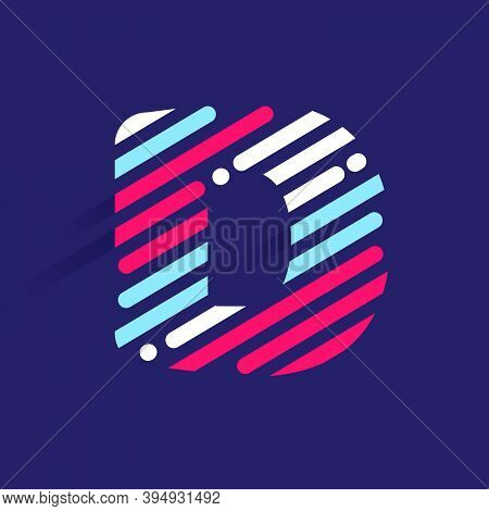 Fast Speed D Letter Logo With Incline Lines And Dots. Vector Template Perfect To Use In Your Sport T