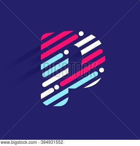 Fast Speed P Letter Logo With Incline Lines And Dots. Vector Template Perfect To Use In Your Sport T