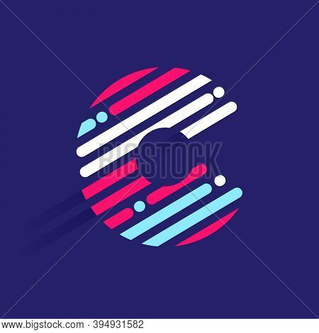 Fast Speed C Letter Logo With Incline Lines And Dots. Vector Template Perfect To Use In Your Sport T