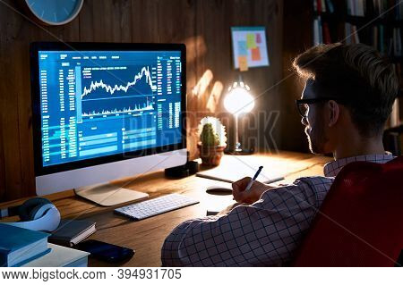 Business Man Stock Exchange Trader Broker Looking At Pc Computer Screen, Investor Manager Analyzing