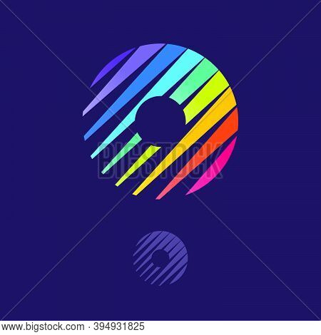 O Letter Logo With Multicolor Diagonal Lines. Fast Speed Vector Template For Your Sport Team Identit