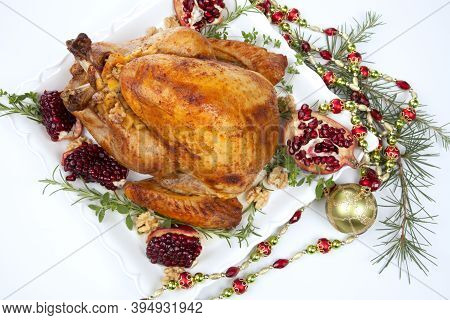 Pomegranate Glazed Roasted Turkey On White