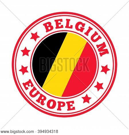 Belgium Sign. Round Country Logo With Flag Of Belgium. Vector Illustration.